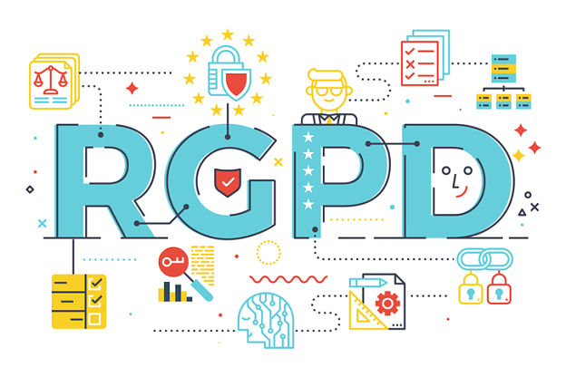 European GDPR (General Data Protection Regulation) word concept  illustration in Spanish abbreviation (RGPD)